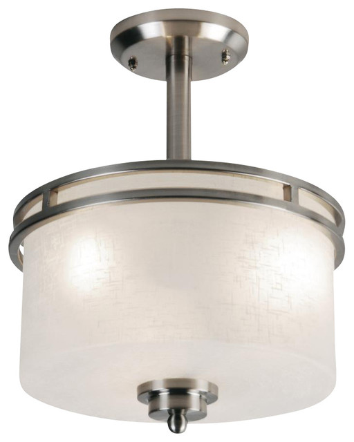 Flush Mount Ceiling Lights Drum Shade : Three light brushed nickel white linen glass drum shade