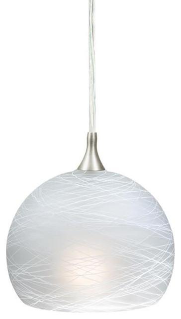 "Vaxcel PD57121SN Milano 5-3/4"" Mini Pendant Cocoon Glass transitional-pendant-lighting"