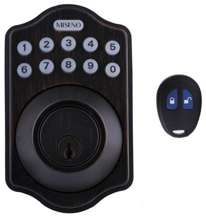 Miseno MHDWMKPD-AB Keypad Deadbolt Set w/LED Button Pad & Remote - Aged Bronze - Traditional ...