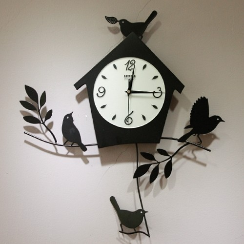 Birds House Pattern Modern Design Artistic Wall Clock Contemporary Wall C