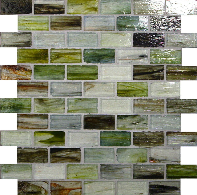 "Bamboo Blend 1"" x 2"" Green Pool Glossy Glass contemporary-tile"