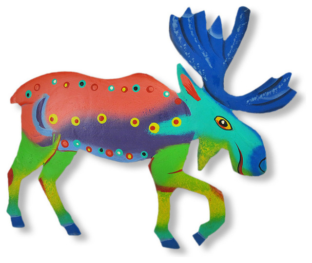 Funky Multicolored Moose Wall Hanging eclectic-artwork