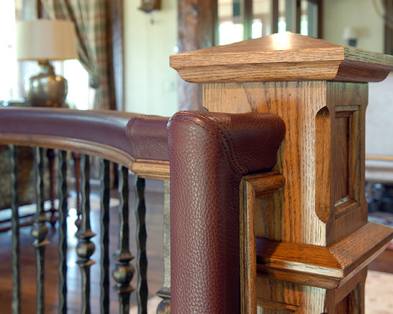 South Shore Club, Lake Geneva, WI - Leather wrapped stair railing