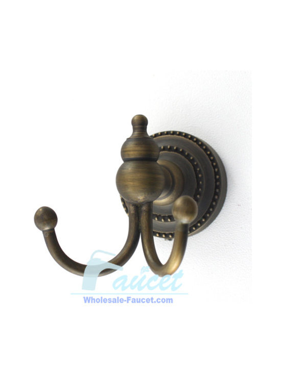 Antique Brass Bathroom Robe Hook - Double Robe Hook in Antique Brass adds a timeless and traditional appearance to your bathroom decor. The double-hook design helps provide ample storage of your bath robes and towels.