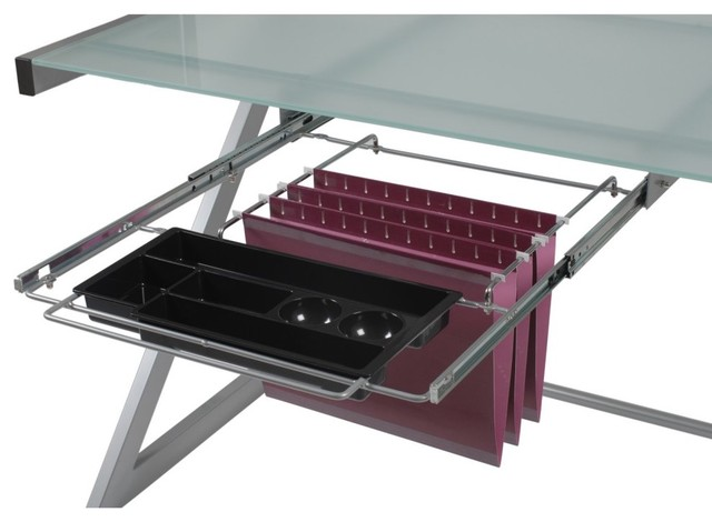 Euro Style Hanging File and Pencil Tray - Aluminum - Modern - Filing Cabinets And Carts - by ...