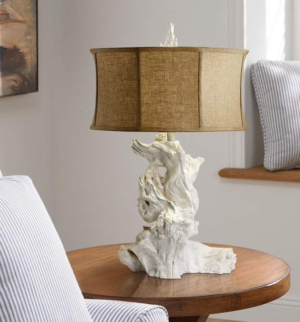 cyan design white driftwood table lamp with raw cotton. Black Bedroom Furniture Sets. Home Design Ideas