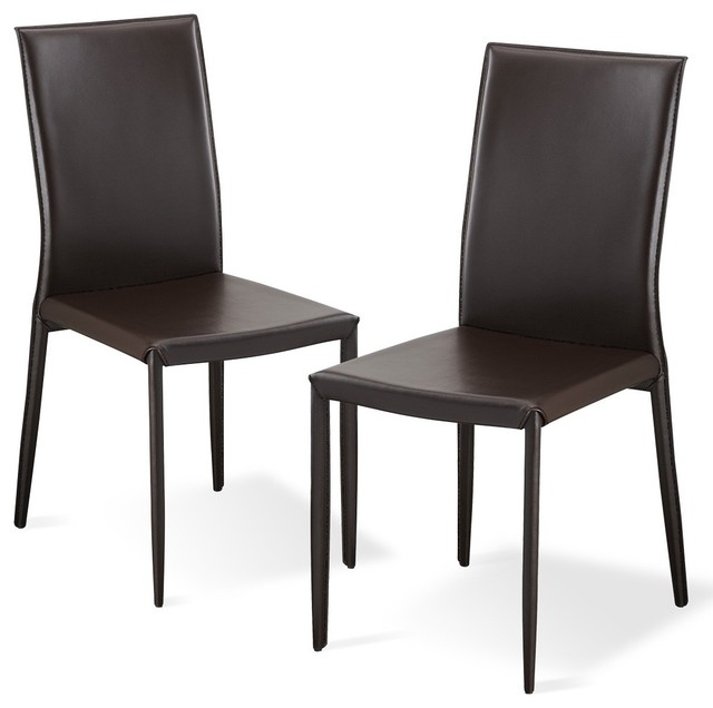 Lucy brown dining room chair set modern dining chairs for Brown leather dining room chairs