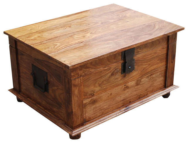 Sierra Solid Wood Rustic Storage Trunk Box Coffee Table Traditional Accent Chests And Cabinets