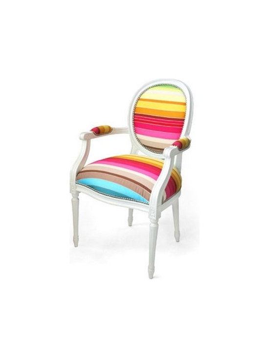 Eco Friendly Furnture and Lighting - When it comes to chairs, what better approach to take than a royal one? The Louis XV Upholstered Chair comes from Dransfield & Ross and brings with it an explosion of colors. With a classic shape that seems to be part of an aristocratic environment, the chair asserts its high-class personality. The novelty comes from its unusual upholstery which makes an interesting contrast with the product's frame. Daring and visually appealing, this beautiful furniture piece is available in a variety of color combinations, from simple black&white to complex rainbow palettes. Perfect for modern apartments with a minimalist design, the Louis XV upholstered chair is sure to brighten up any room while adding a noble touch.