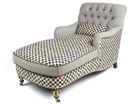 Courtly Check Underpinnings Chaise | MacKenzie-Childs - Mingling Courtly Check® and ticking stripes, the stage is set for a lively exchange of ideas. Made in the U.S., the Chaise features an eco-friendly frame of sustainably harvested hardwood and eight-way hand-tied coil construction for outstanding comfort. Antique brass nailhead trim and castered legs. Includes one reversible Courtly Check®/ticking stripe lumbar pillow. All green-manufactured in our commitment to domestic manufacturing and responsible practices.