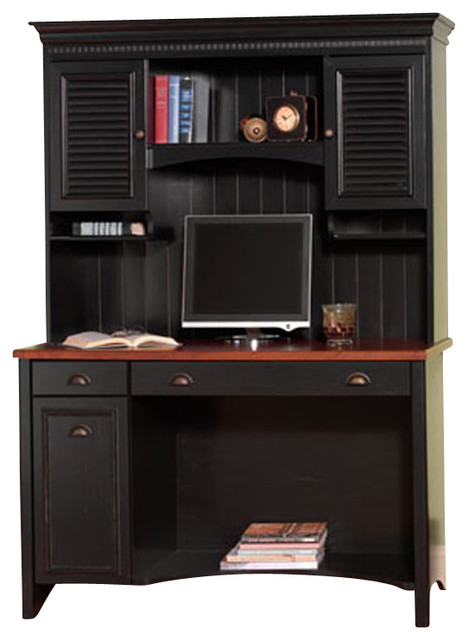 """Bush Stanford 48"""" Wood Computer Desk with Hutch and File Cabinet in Antique Blac - Transitional ..."""