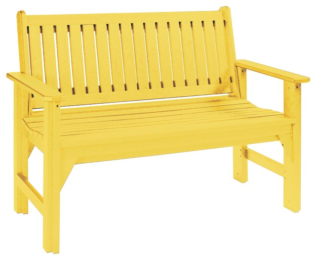 C r plastics garden bench in yellow contemporary for Outdoor furniture yellow