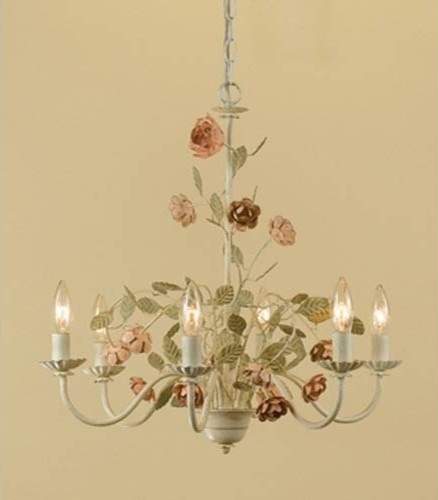 Ramblin Rose Antique Cream with Pink Six-Light Chandelier traditional chandeliers