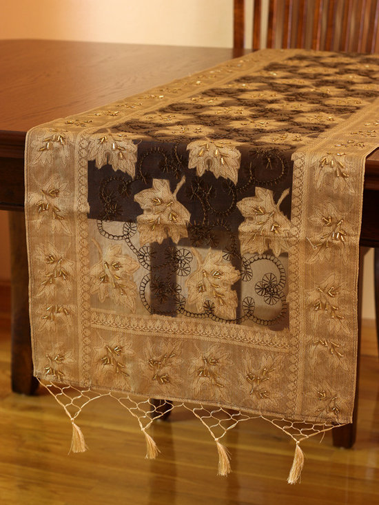 Elegant Table Runners - Delicate 100% Silk Table Runner. Inspired by the Fall Season. Hand crafted in India. Caramel color with gold shade. Brown