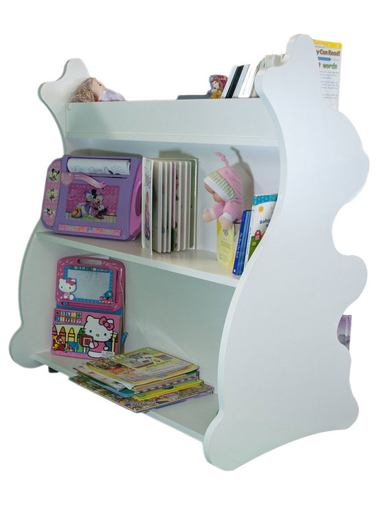 Mobile Baby Bookcase - Mobile Double Sided Bookcase Rabbit White: This adorable mobile child's bookcase is perfect for to store all your child's favorite books and toys for years to come. The sylish design and wheels on the bottom make the  bookcase chic yet functional enough for any trendy home.