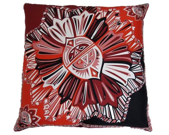 Crimson Pillow from Pucci silk Scarf - Measures 24 x 24