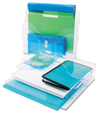 Three-Tier Document Organizer, Plastic, 13 3/8 X 3 1/2 X 11 1/2, Clear modern