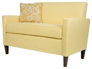 Angelo Home Sutton Loveseat Washed Buttercream Yellow Modern Loveseats By Hayneedle