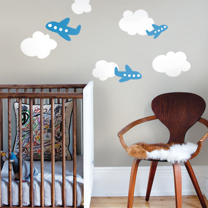 Airplanes with clouds nursery decor by simple shapes - Chambre garcon avion ...