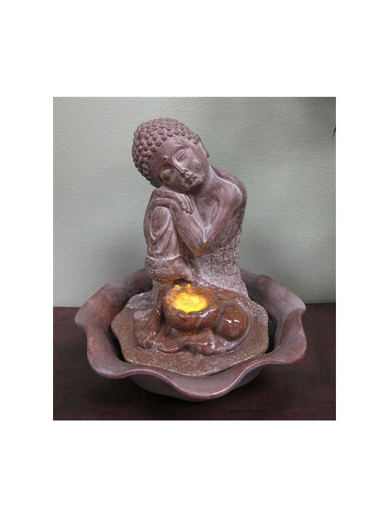 "BUddha Statue Fountains, Indoor Tabletop Fountains - The ""Resting Buddha"" tabletop fountain is made of a durable and lightweight poly-resin but has a ceramic look finish. Includes a pump and an LED light illuminating the water flow."