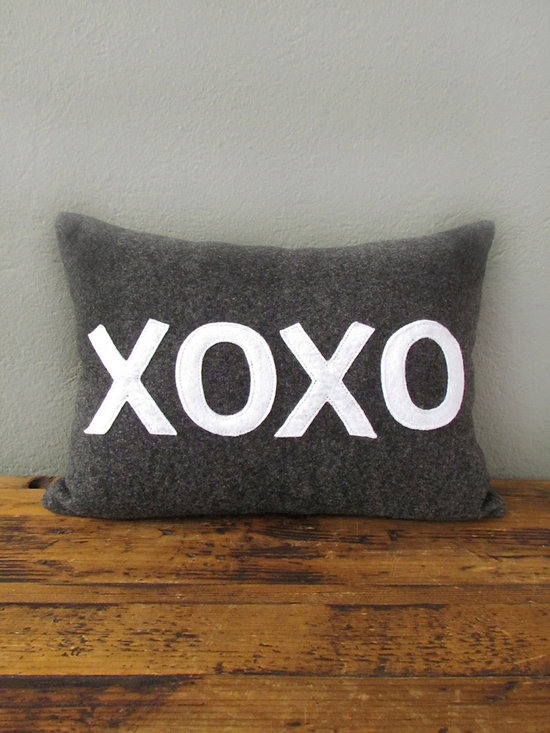 xoxo pillow – charcoal + white - view this item on our website for more information + purchasing availability: http://redinfred.com/shop/category/detail/throw-pillows/xoxo-pillow-10-x-14-charcoal-white/
