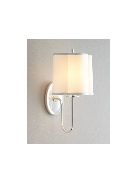 """VISUAL COMFORT - VISUAL COMFORT """"Simple Scallop"""" Sconce - Elegantly simple sconce features a gently scalloped shade and a soft, silvery finish. Designed by Barbara Barry for Visual Comfort. Handcrafted of brass with a soft-silver finish. Silk hardback shade. Uses one 75-watt bulb. Direct wire; profession..."""