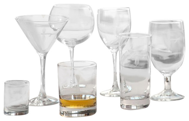 Fly Fishing Set Of 4 Double Old Fashioned Glasses midcentury-cups-and-glassware