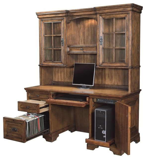 Bedroom Credenza: Aspenhome Centennial Credenza Desk And Hutch In Chestnut