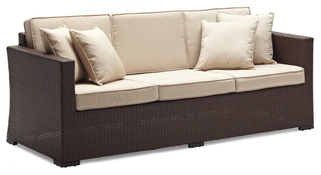 Strathwood Griffen All-weather Wicker 3-Seater Sofa, Dark Brown contemporary-outdoor-sofas