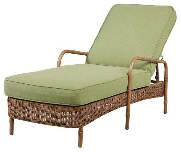 Hampton Bay Chaise Lounges Clairborne Patio Chaise Lounge with Moss Cushion
