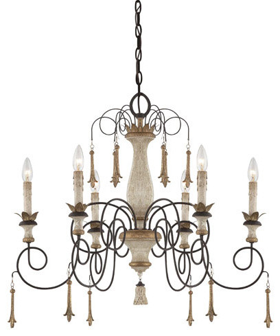 Accents Provence Patina Six-Light Chandelier with White Patina Glass traditional-chandeliers
