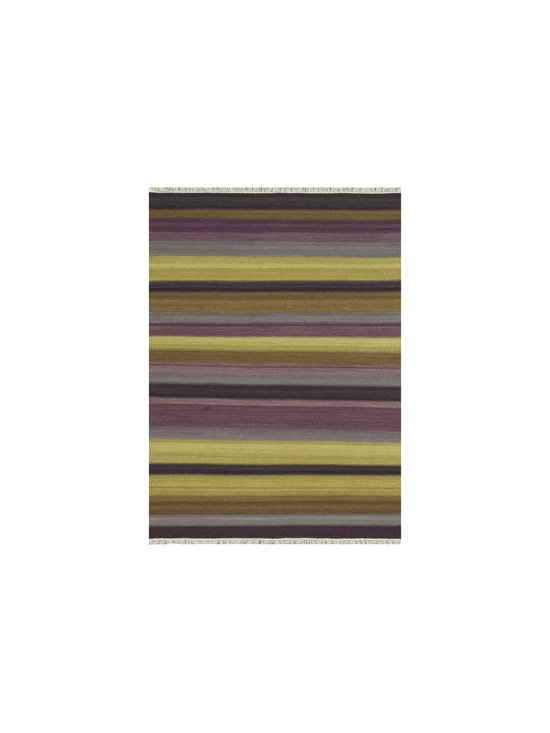 "Horchow - ""Emelion"" Striped Rug - A modern take on the traditional kilim rug, this handmade rug features an edgy new pattern that has both transitional and modern appeal. Handwoven of wool with fringe. Sizes are approximate. Imported."