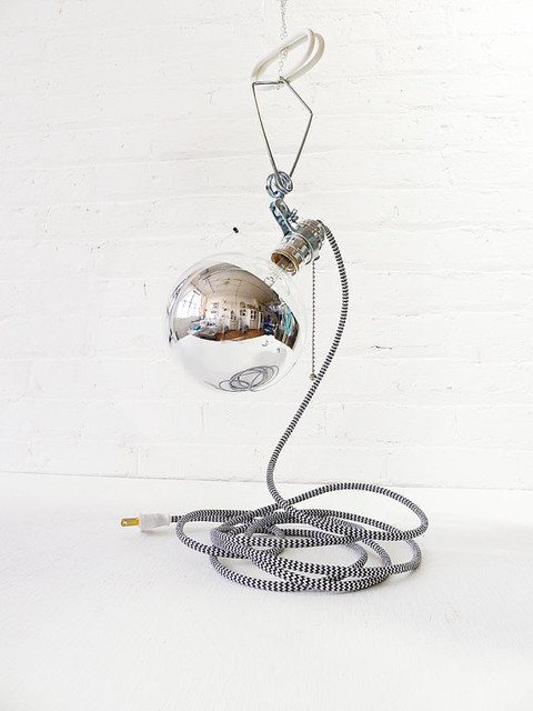 Giant Silver Bowl Clip Clamp Light With Zigzag Cord by Earth Sea Warrior contemporary-pendant-lighting