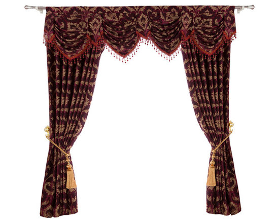 """Ulinkly.com - Luxurious window curtain - Lucky Lucy, 54""""*84"""", 2 Panels with Valance - This price includes 2 panels and valance."""