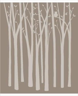 Birch Tree Silhouettes Paint by Number Wall Mural modern-wall-decals