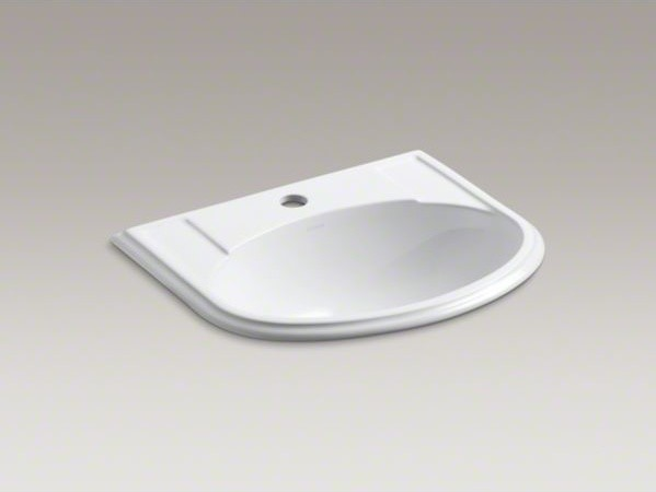 KOHLER Devonshire(R) drop-in bathroom sink with single faucet hole ...