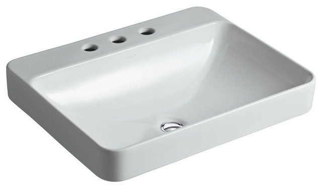 Kohler Vox Sink : KOHLER Bathroom Vox Rectangle Above-Counter Vessel Sink in Ice Grey K ...
