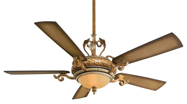 Napoli 5 Blade 2 Light Ceiling Fan In Tuscan Patina Blades