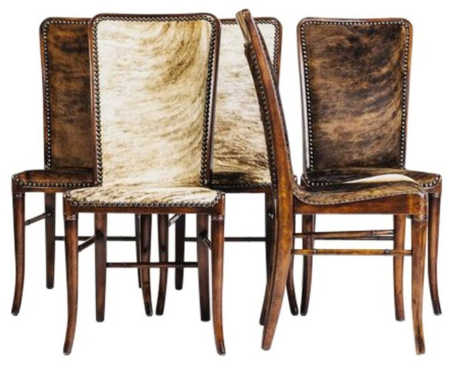 SOLD OUT High Back Cowhide Chairs Set of 5 $3 250 Est