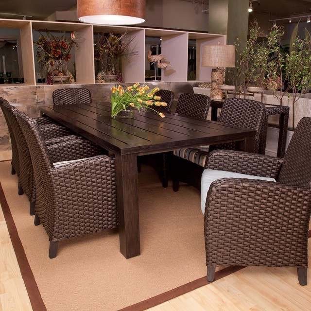 Anacara Carlysle All Weather Wicker Dining Set Seats 8 Dining Patio Sets