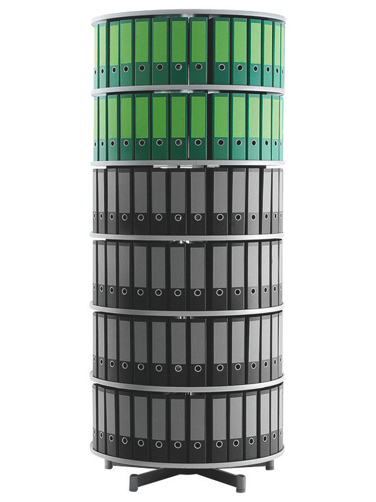 Empire Office Solutions - Moll Deluxe Binder and File Storage Carousel - Five Tier in Graphite Wood - This five tier rotary binder carousel turns in a full rotation. Turn the carousel to find the binder or media you need. The 32-inch diameter unit offers abundant storage in a small area.