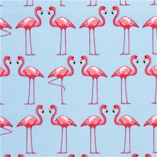Blue Fabric With Pink Flamingos By Michael Miller Fabric