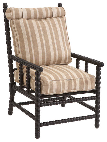 European Spindle Chair Black Traditional Armchairs