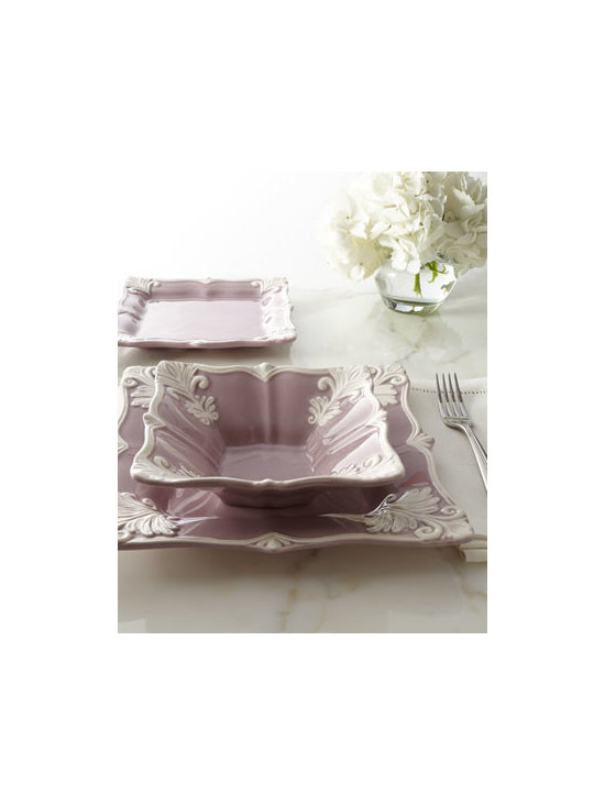 "Horchow - 12-Piece Purple Square ""Baroque"" Dinnerware Service - We love the unexpected combination of square shape, ornate Baroque design, and ivory against pale purple that this dinnerware presents. Handcrafted in Portugal of earthenware. Dishwasher and microwave safe. 12-piece service includes four dinner plate..."