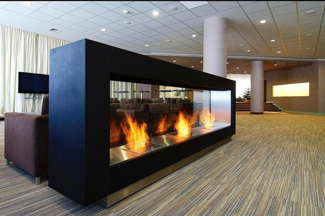 Magnus bio ethanol freestanding fireplace contemporary for Contemporary ventless fireplace