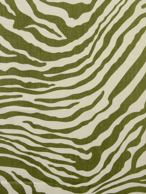 Zebra linen print fabric olive ivory contemporary fabric by