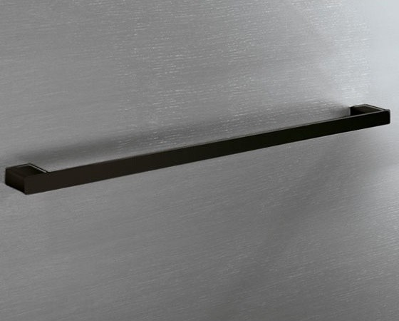 Square Modern 24 Inch Towel Bar In Matte Black By Gedy