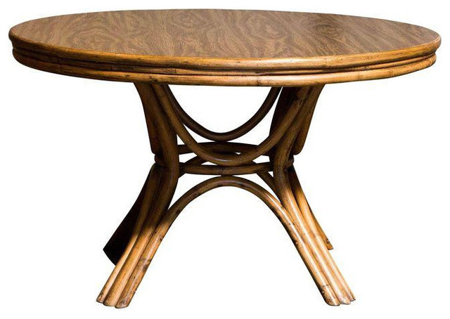 Round Bamboo Pedestal Dining Table - $1,250 Est. Retail - $425 on Chairish.com