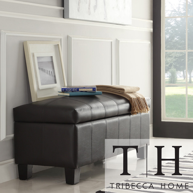 TRIBECCA HOME Florenville Brown Faux Leather Storage Ottoman contemporary-footstools-and-ottomans