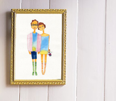 Custom Couple Watercolor by Heart Serene eclectic-artwork